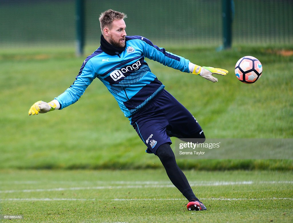 Goalkeeper Rob Elliot looks to kick the ball during the Newcastle United Training Session at The Newcastle United Training Centre on January 17, 2017 in Newcastle upon Tyne, England.