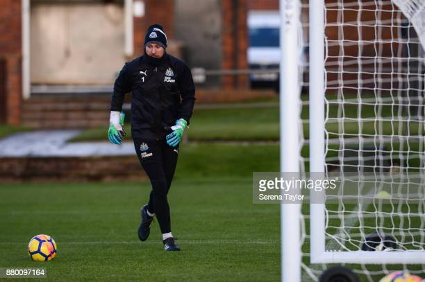 Goalkeeper Rob Elliot looks to kick the ball into play during the Newcastle United training session at the Newcastle United Training Centre on...