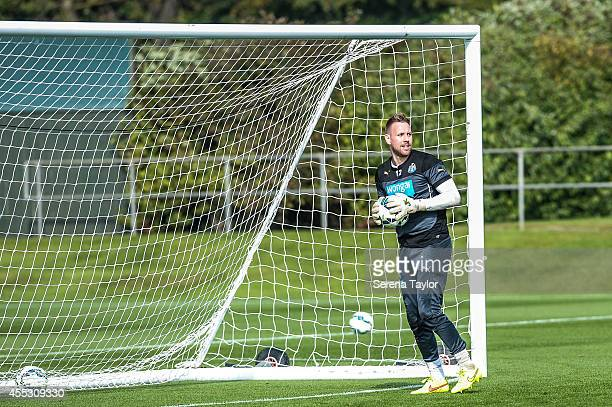 goalkeeper Rob Elliot looks to throw the ball back into play from the goal mouth during a Newcastle United Training Session at the Newcastle United...