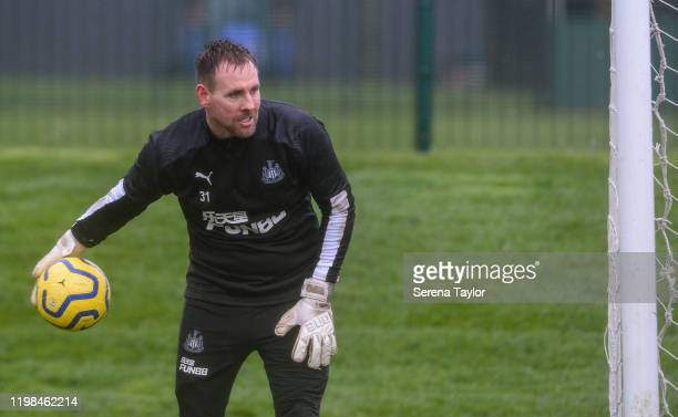 Goalkeeper Rob Elliot passes the ball during the Newcastle United Training Session at the Newcastle United Training Centre on January 09 2020 in...