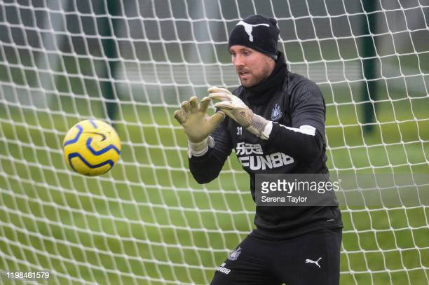 Goalkeeper Rob Elliot sets to catch the ball during the Newcastle United Training Session at the Newcastle United Training Centre on January 09 2020...