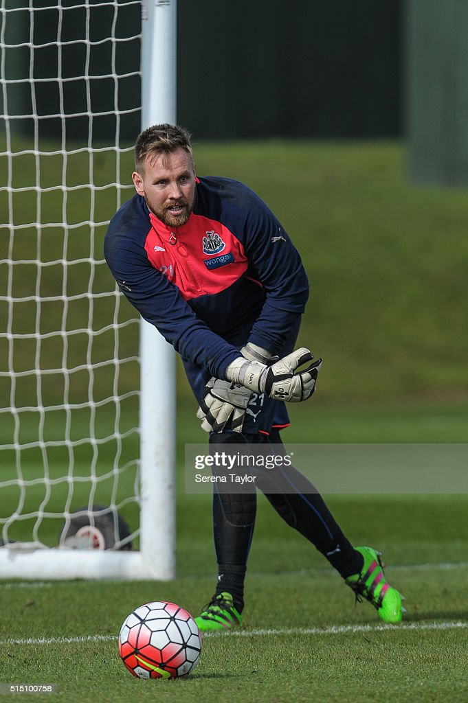 Goalkeeper Rob Elliot throws the ball into play during the Newcastle United training session at The Newcastle United Training Centre on March 12, 2016, in Newcastle upon Tyne, England.