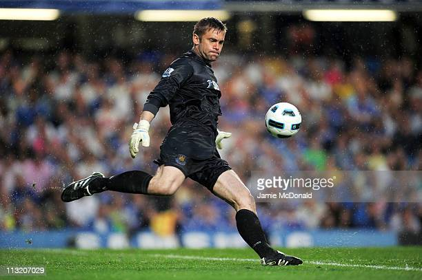 Goalkeeper Robert Green of West Ham takes a goal kick during the Barclays Premier League match between Chelsea and West Ham United at Stamford Bridge...