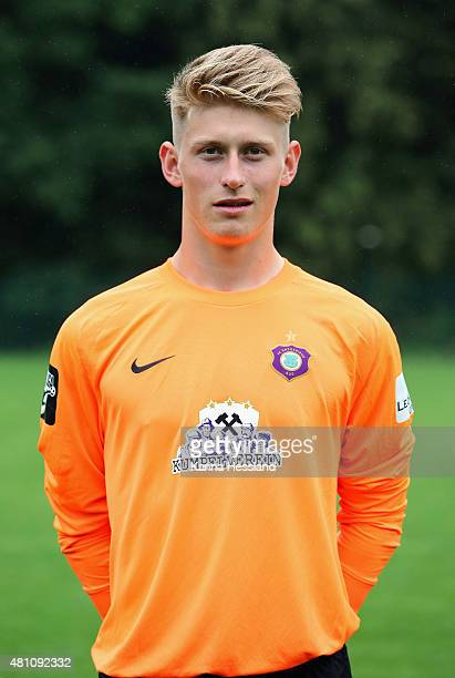 Goalkeeper Robert Jendrusch poses during the official team presentation of Erzgebirge Aue at ground 2 on July 14 2015 in Aue Germany