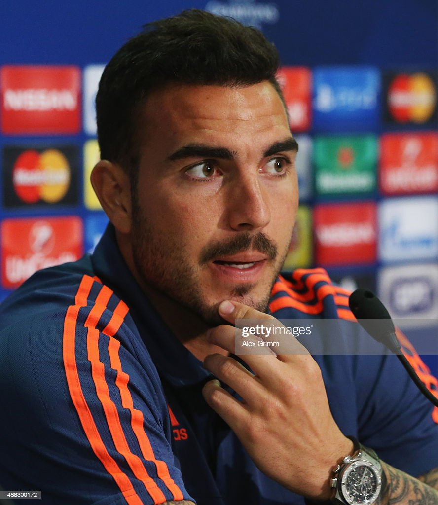 Goalkeeper Roberto attends a Olympiacos FC press conference ahead of their UEFA Champions League Group F match against Bayern Muenchen at Karaiskakis Stadium on September 15, 2015 in Athens, Greece.