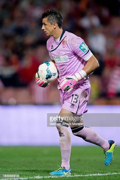 Goalkeeper Roberto Fernandez of Granada CF holds the ball during the La Liga match between Granada CF and Athletic Club at Estadio Nuevo Los Carmenes...