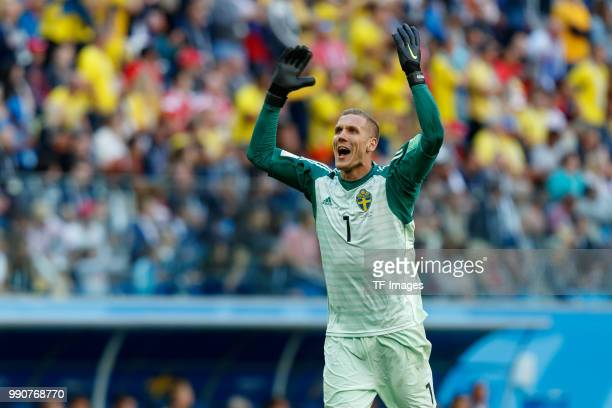 Goalkeeper Robin Olsen of Sweden celebrates after winning the 2018 FIFA World Cup Russia Round of 16 match between Sweden and Switzerland at Saint...