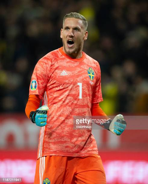 Goalkeeper Robin Olsen of Sweden celebrates as his team open the scoring during the UEFA Euro 2020 qualifier between Sweden and Spain at Friends...