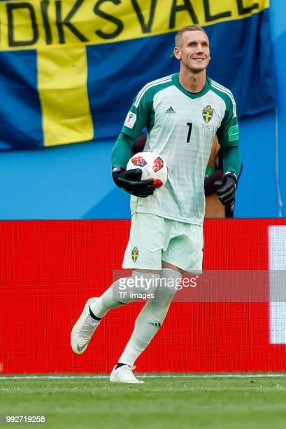 Goalkeeper Robin Olsen of Sweden controls the ball during the 2018 FIFA World Cup Russia Round of 16 match between Sweden and Switzerland at Saint...