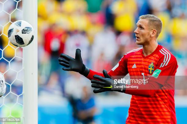 Goalkeeper Robin Olsen of Sweden focused on the ball the 2018 FIFA World Cup Russia group F match between Sweden and Korea Republic at Nizhny...