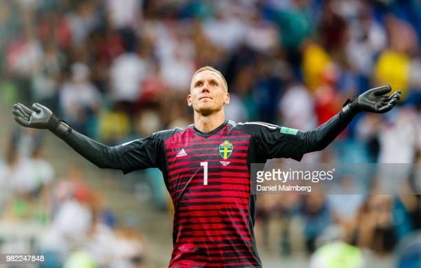 Goalkeeper Robin Olsen of Sweden looks on during the 2018 FIFA World Cup Russia group F match between Germany and Sweden at Fisht Stadium on June 16...