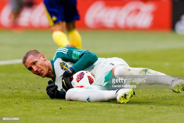 Goalkeeper Robin Olsen of Sweden makes a save during the 2018 FIFA World Cup Russia Quarter Final match between Sweden and England at Samara Arena on...
