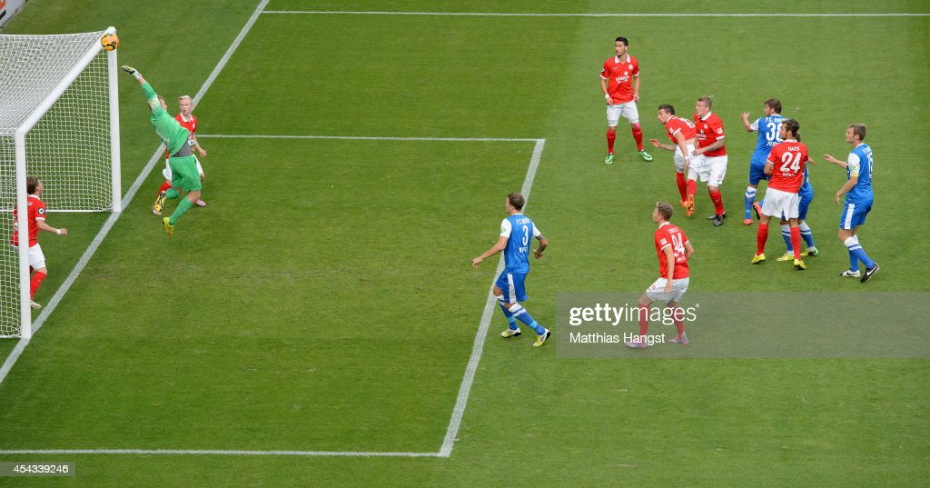 Goalkeeper Robin Zentner of Mainz saves a ball during the Third league match between 1. FSV Mainz 05 II and Hansa Rostock at Bruchweg Stadium on August 29, 2014 in Mainz, Germany.