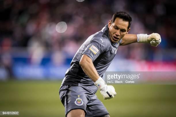 Goalkeeper Rodolfo Cota of Guadalajara celebrates after the CONCACAF Champions League - Semifinals - Leg 2 match between CD Guadalajara and New York...
