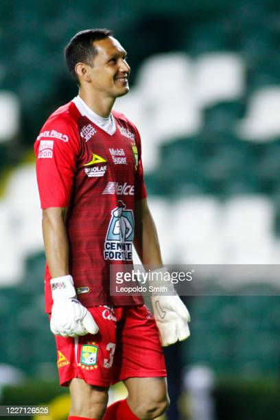 Goalkeeper Rodolfo Cota of Leon looks on after his team's third goal during a match between Leon and FC Juarez as part of the friendly tournament...