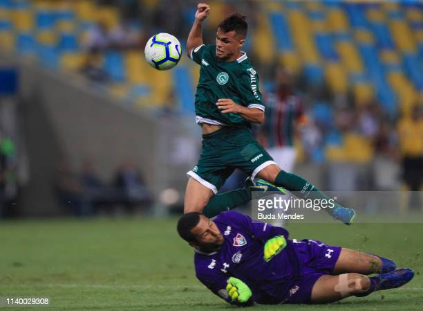 Goalkeeper Rodolfo of Fluminense struggles for the ball with Michael of Goias during a match between Fluminense and Goias as part of Brasileirao...