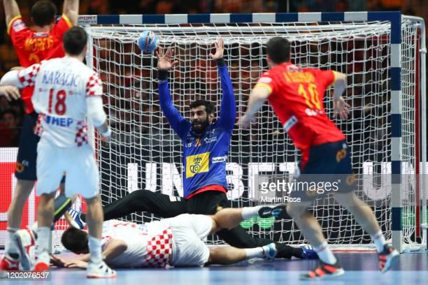 Goalkeeper Rodrigo Corrales Rodal of Spain makes a save against Marino Maric of Croatia during the Men's EHF EURO 2020 final match between Spain and...