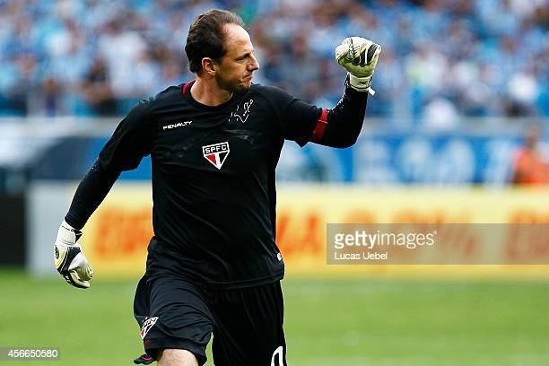 Goalkeeper Rogerio Ceni of Sao Paulo celebrates the team's first goal during the match Gremio v Sao Paulo as part of Brasileirao Series A 2014 at...