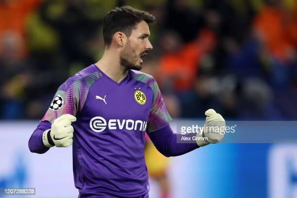 Goalkeeper Roman Bürki of Dortmund reacts after the UEFA Champions League round of 16 first leg match between Borussia Dortmund and Paris...