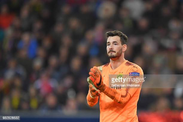 Goalkeeper Roman Buerki of Dortmund gestures during the UEFA Europa League Round of 16 2nd leg match between FC Red Bull Salzburg and Borussia...