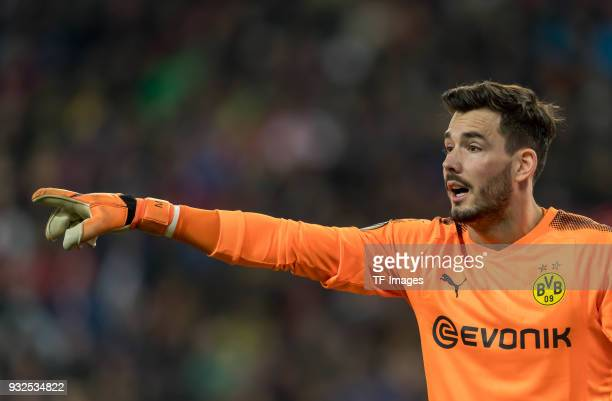 Goalkeeper Roman Buerki of Dortmund gestures during UEFA Europa League Round of 16 second leg match between FC Red Bull Salzburg and Borussia...