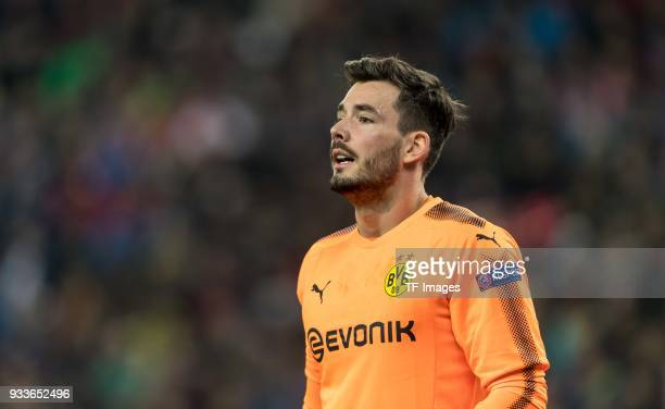 Goalkeeper Roman Buerki of Dortmund looks on during UEFA Europa League Round of 16 second leg match between FC Red Bull Salzburg and Borussia...