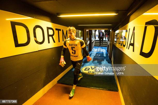 Goalkeeper Roman Buerki walks through the player tunnel prior to the UEFA Champions League Quarter Final first leg match between Borussia Dortmund...