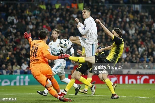 goalkeeper Roman Burki of Borussia Dortmund Sergio Ramos of Real Madrid Cristiano Ronaldo of Real Madrid Marcel Schmelzer of Borussia Dortmund Neven...