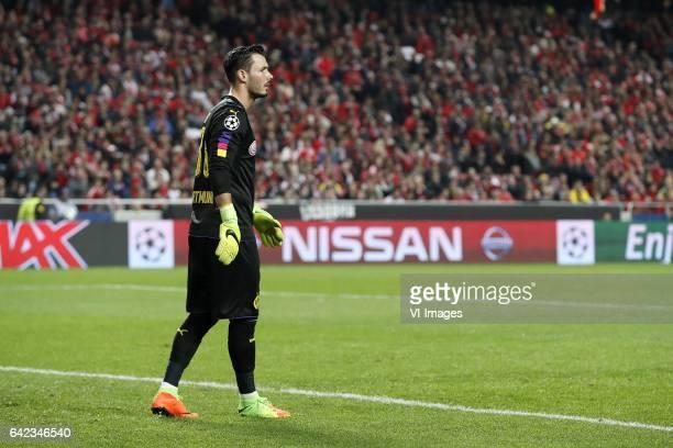 goalkeeper Roman Burki of Borussia Dortmundduring the UEFA Champions League round of 16 match between SL Benfica and Borussia Dortmund on February 14...
