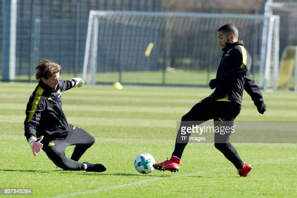 Goalkeeper Roman Weidenfeller and Jeremy Toljan of Dortmund battle for the ball during a training session at BVB trainings center on March 20 2018 in...