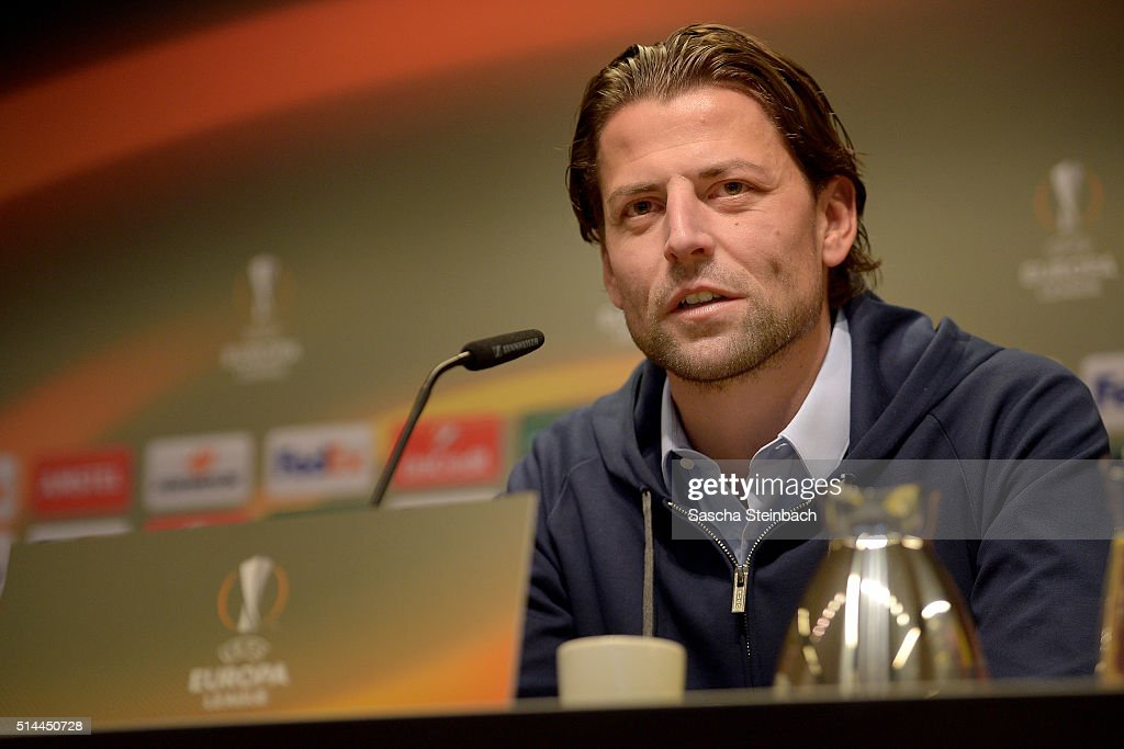 Goalkeeper Roman Weidenfeller looks on during the Borussia Dortmund press conference prior to the UEFA Europa League match between Borussia Dortmund and Tottenham Hotspur FC at Signal Iduna Park on March 9, 2016 in Dortmund, Germany.