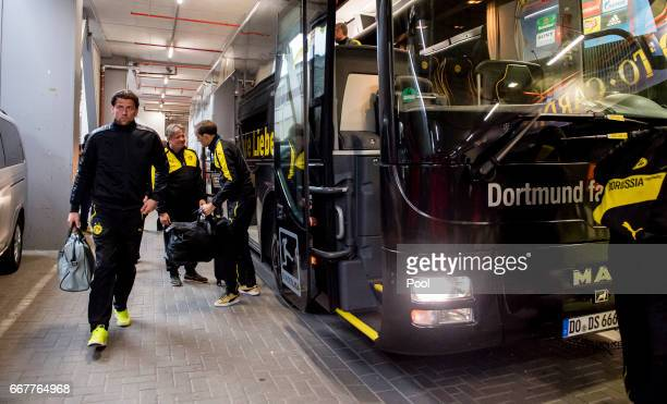 Goalkeeper Roman Weidenfeller of Borussia Dortmund arrives prior to the UEFA Champions League Quarter Final First Leg match between Borussia Dortmund...