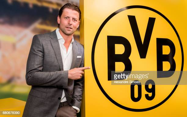 goalkeeper Roman Weidenfeller of Borussia Dortmund poses after he extended his contract with the club until 2018 on May 9 2017 in Dortmund Germany