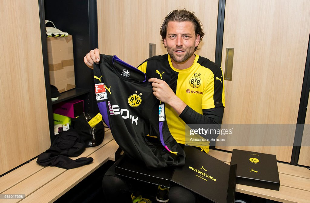 goalkeeper Roman Weidenfeller of Borussia Dortmund revealing the new Borussia Dortmund home jersey, Season 2016-2017 on May 12, 2016 in Dortmund, Germany.