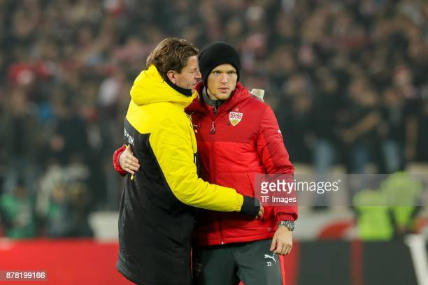 Goalkeeper Roman Weidenfeller of Dortmund and Daniel Ginczek of Stuttgart looks on during the Bundesliga match between VfB Stuttgart and Borussia...