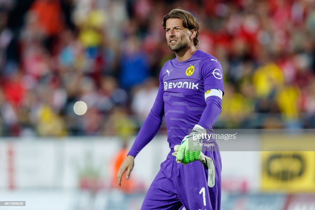 Goalkeeper Roman Weidenfeller of Dortmund looks on after the Friendly Match match between FSV Zwickau and Borussia Dortmund at Stadion Zwickau on May 14, 2018 in Zwickau, Germany.