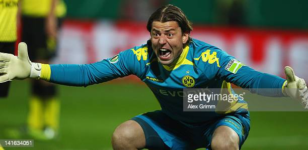 Goalkeeper Roman Weidenfeller of Dortmund reacts during the DFB Cup semi final match between SpVgg Greuther Fuerth and Borussia Dortmund at...