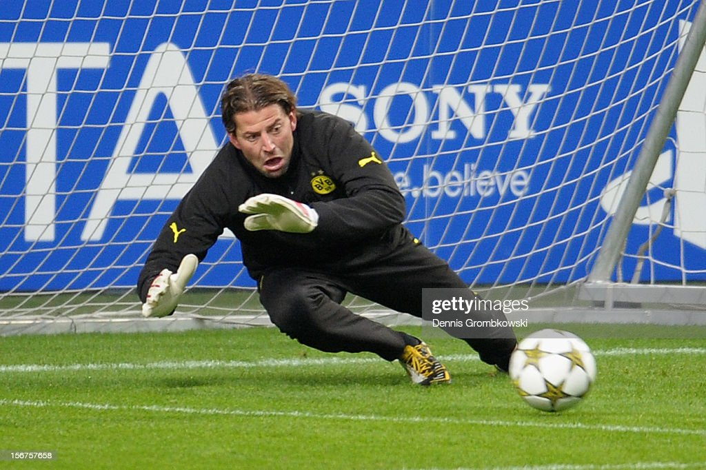 Goalkeeper Roman Weidenfeller of Dortmund takes part in a training session ahead of the UEFA Champions League match against Ajax Amsterdam on November 20, 2012 in Amsterdam, Netherlands.