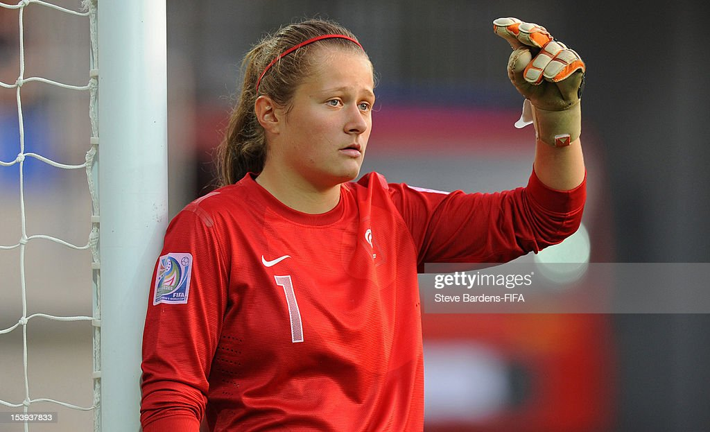 Goalkeeper Romane Bruneau of France looks on during the FIFA U-17 Women's World Cup 2012 Semi-Final match between France and Ghana at 8KM Stadium on October 9, 2012 in Baku, Azerbaijan.