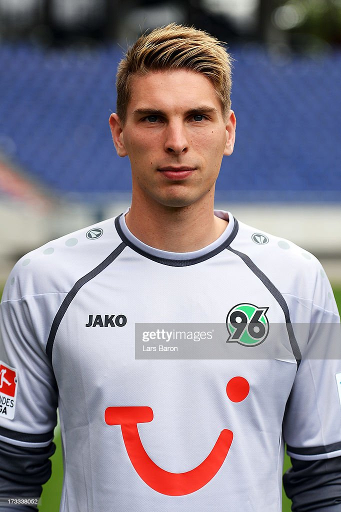 Goalkeeper Ron Robert Zieler poses during the Hannover 96 team presentation at HDI Arena on July 11, 2013 in Hanover, Germany.