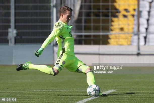 Goalkeeper Ron Thorben Hoffmann of FC Bayern Muenchen kicks the ball during the AJuniors semi final first leg German Championship match between FC...