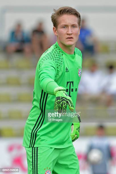 Goalkeeper Ron Thorben Hoffmann of Munich gestures during the U19 German Championship Semi Final second leg match between FC Schalke and FC Bayern at...