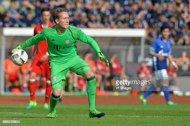 Goalkeeper Ron Thorben Hoffmann of Munich in action during the U19 German Championship Semi Final second leg match between FC Schalke and FC Bayern...