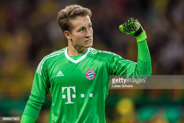 Goalkeeper Ron Thorben Hoffmann of Munich reacts during the U19 German Championship Final between Borussia Dortmund and FC Bayern Muenchen on May 22...
