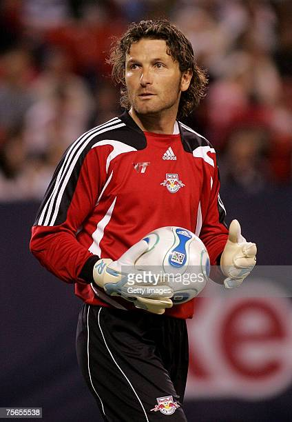 Goalkeeper Ronald Waterreus of the New York Red Bulls looks on against the Houston Dynamo at Giants Stadium in the Meadowlands on April 21 2007 in...