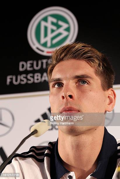 Goalkeeper Ron-Robert Zieler attends a press conference on September 04, 2012 in Barsinghausen, Germany, three days before their FIFA World Cup...