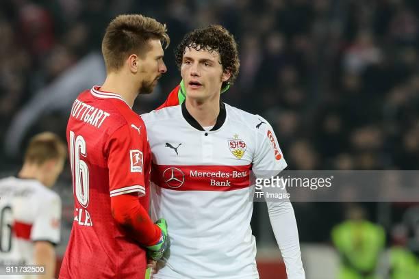 Goalkeeper RonRobert Zieler of Stuttgart and Benjamin Pavard of Stuttgart look dejected after the Bundesliga match between VfB Stuttgart and FC...