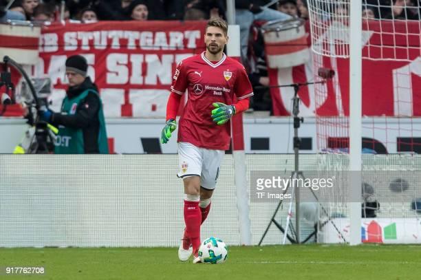 Goalkeeper RonRobert Zieler of Stuttgart controls the ball during the Bundesliga match between VfB Stuttgart and Borussia Moenchengladbach at...