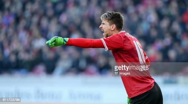 Goalkeeper RonRobert Zieler of Stuttgart gestures during the Bundesliga match between VfB Stuttgart and FC Schalke 04 at MercedesBenz Arena on...