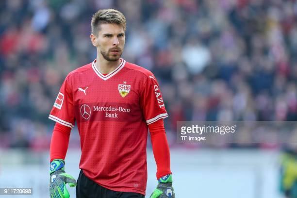 Goalkeeper RonRobert Zieler of Stuttgart looks on during the Bundesliga match between VfB Stuttgart and FC Schalke 04 at MercedesBenz Arena on...